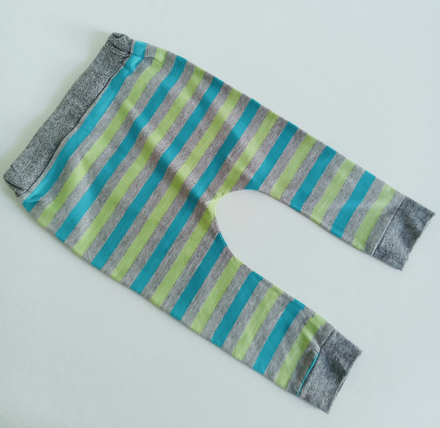 6-12 months, slouchy leggings, baby trousers, grey stripe, baby clothes