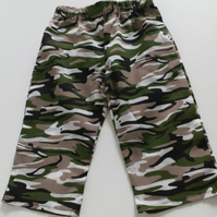 12 months, Baby Summer Trousers, Boys, Polycotton Trousers, Camouflage