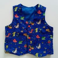 Age 18 months, boys waistcoat, monsters, blue, kids clothes, partywear,