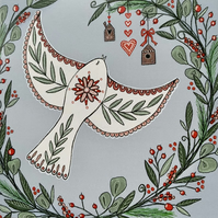 Christmas Dove, blank Christmas card