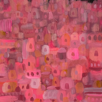 Pink Palaces, Abstract Canvas Painting