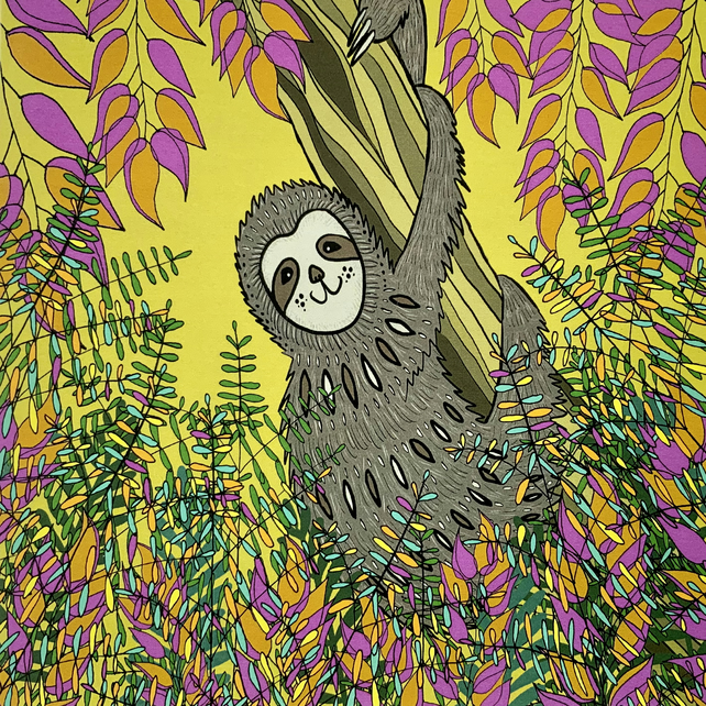 Sloth, blank greetings card