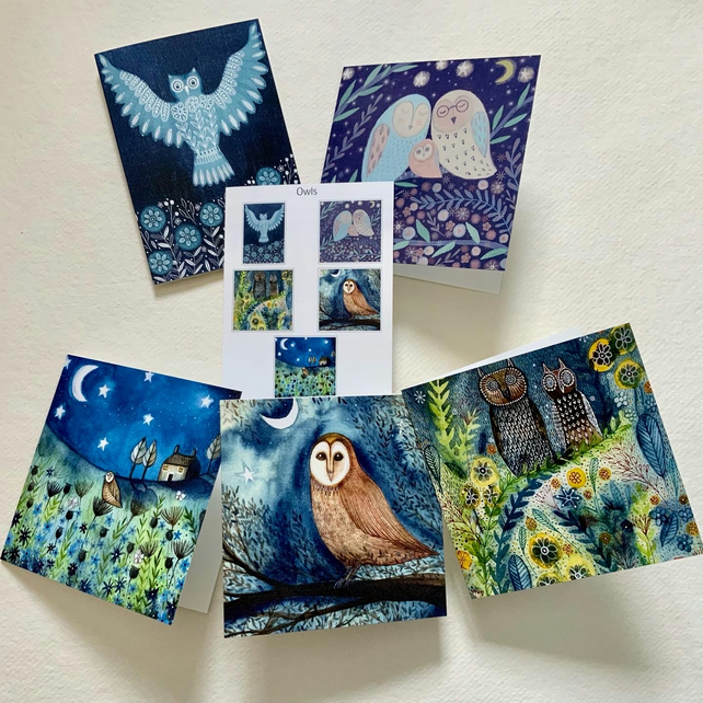Owls, blank greetings card pack