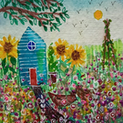 In the Allotment Garden, original miniature painting 3x3 inches