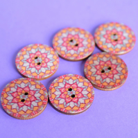 Wooden Mandala Patterned Buttons Orange Turquoise Red 6pk 25mm (M20)