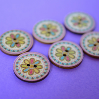 Wooden Mandala Patterned Buttons Multicoloured Flower 6pk 25mm (M17)