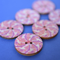 Wooden Mandala Patterned Buttons Pink Natural 6pk 25mm (M21)