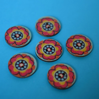 Wooden Mandala Patterned Buttons Red Yellow Orange Aqua Flower 6pk 25mm (22)