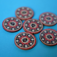 Wooden Mandala Patterned Buttons Red Black Natural 6pk 25mm (M18)
