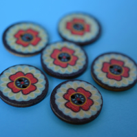 Wooden Mandala Patterned Buttons Red Black Green Blue Flower 6pk 25mm (M19)