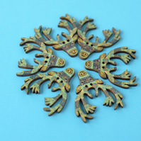 Wooden Stag Buttons Blues Aqua 6pk 30x30mm Deer Antlers (STG6)