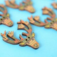 Wooden Stag Buttons Green Beige Brown 6pk 30x30mm Deer Antlers (STG5)