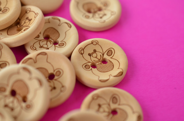Natural Wooden Teddy Bear Buttons one Button 20mm (TED2)