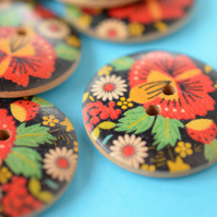 30mm Wooden Red Black Green Russian Floral Design One Large Button (RLG7)