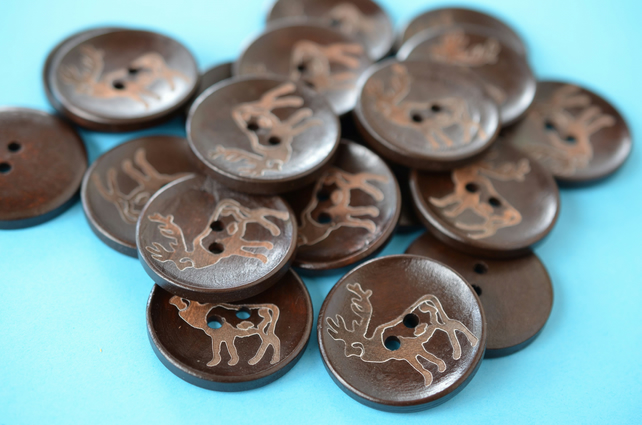 Extra Large Wooden Dark Brown Stag Buttons 6pk 35mm Deer Antlers (RLG9)