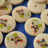 15mm Wooden Rainbow Elephant Buttons 10pk Kids Buttons (SAN5)