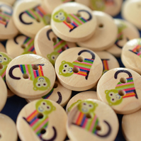 15mm Wooden Rainbow Monkey Buttons 10pk Kids Buttons (SAN6)