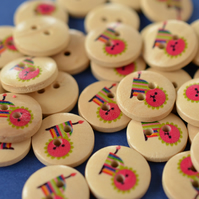 15mm Wooden Rainbow Lion Buttons 10pk Kids Buttons (SAN7)
