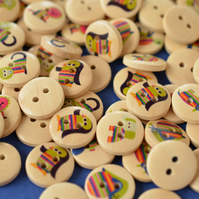 15mm Wooden Rainbow Animal Buttons Mixed 10pk Kids Buttons (SAN1)
