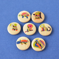 15mm Wooden Rainbow Animal Button Kids Buttons (SAN2)
