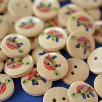 15mm Wooden Rainbow Tortoise Buttons 10pk Kids Buttons (SAN9)