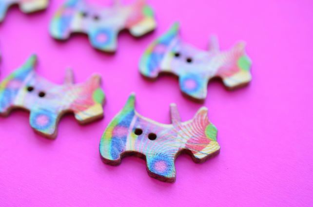 Wooden Scottie Dog Buttons Colourful Psychedelic 6pk 28x20mm Scotty Puppy (DG21)