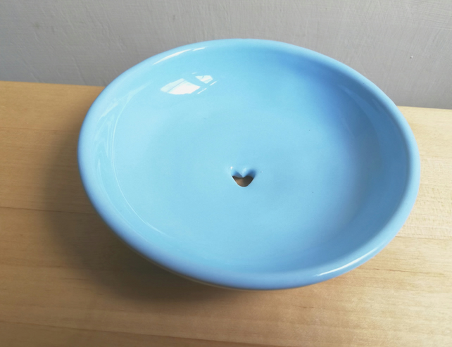 Ceramic soap dish in light blue or grey with heart handmade pottery gift