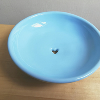 Ceramic soap dish in light blue with heart handmade pottery gift soap holder