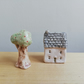 Miniature ceramic house and tree handmade tiny house & cherry tree home gift