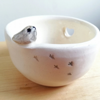 Ceramic handmade bird tealight with heart and footprints gift idea