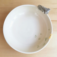 Hand made ceramic cat bowl with tabby cat and gold fish hearts and pawprints