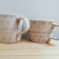 Ceramic stoneware doodle tea cup or coffee mug - hand made doodle cup