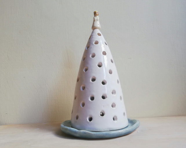 Handmade ceramic Christmas tree & angel tealight white candle holder gift