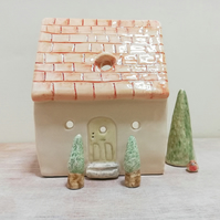 House with red roof tea light ceramic holder in a choice of two 4 candle lover