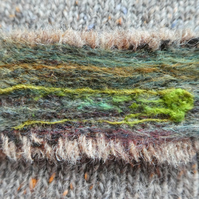 Harris tweed landscape brooch - greens and browns, needle felted.