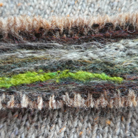 Harris tweed landscape brooch - greens and browns with white, needle felted.