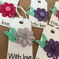 With Love Flower and Button Gift Tags