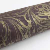 A4 Marbled paper sheet gold burgundy black drawn stone pattern