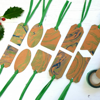 Copper and green Marbled paper gift tags mixed shapes pack