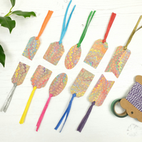 Marbled paper rainbow nonpareil gift tags mixed pack