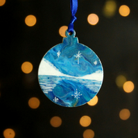 Frozen lake scene Aurora Christmas decoration