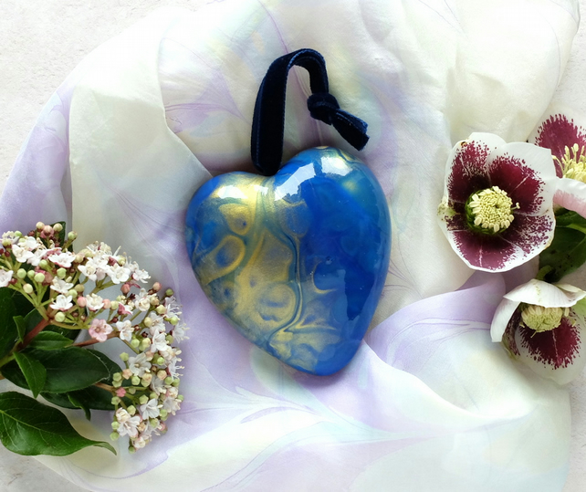 Ceramic hanging heart blue gold double sided acrylic pour slight second