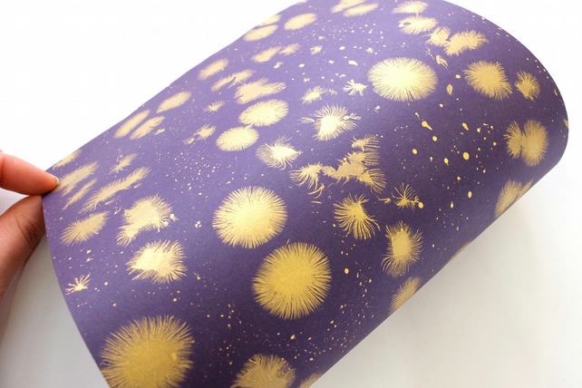 'Star burst' pattern A4 Marbled paper sheet purple gold