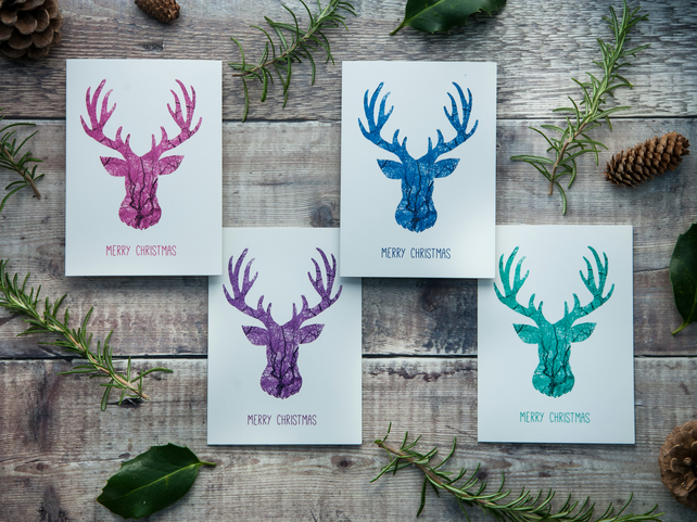 Pack of Stag Christmas Cards - Pink, Purple, Blue & Turquoise Reindeer Cards