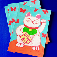 Love You Lucky Cat Postcard by Jo Brown - be lucky