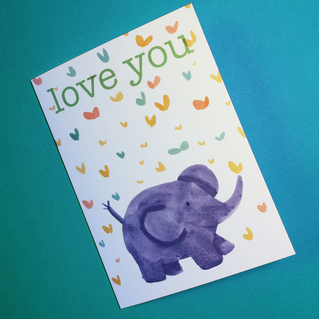 Love You baby elephant card -best friend  valentines galentines card by Jo Brown