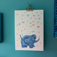 Cute elephant A5 or A4 print by Jo Brown nursery art- home office art