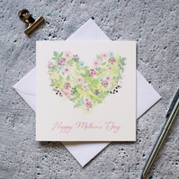 Floral Love Heart Mother's Day Card Hand Designed By CottageRts