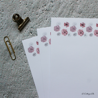 Pink Carnation Flower Letter Writing Paper Hand Designed By CottageRts