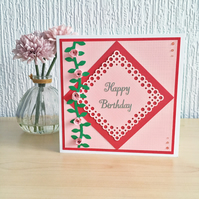 SALE 20% OFF Quilled roses birthday card - personalised to any age